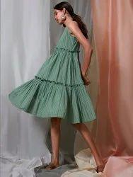 Janasya Women's Green Pure Cotton Ethnic Dress(J0153)