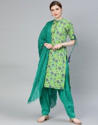 Jaipur Kurti Women Green & Sea Green Floral Straight Cotton Kurti With Salwar & Dupatta