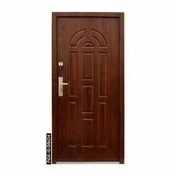 Brown PGS-10 Orich Wooden Finish Steel Door, For Home, Thickness: 70 Mm