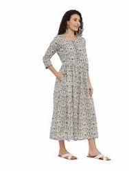 Ladies Cotton Printed Long Dress