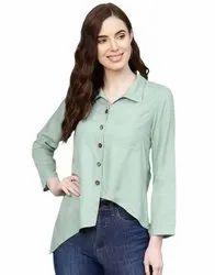Jaipur Kurti Women Mint Green Solid Straight Rayon Shirt