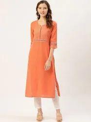 Jaipur Kurti Peach Cotton Slub Embroidered Straight Kurta