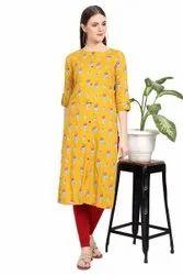 Women Printed Rayon Straight Kurta (Yellow)