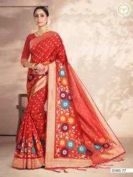 Present Banarasi Silk Saree With Rich Pallu With Designer Blouse Piece