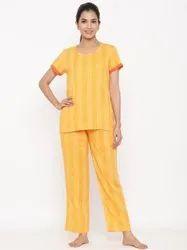 Jaipur Kurti Women Yellow Yarn Dyed Straight Night Suit