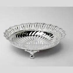Intricate Border Oval Silver Bowl (Medium)