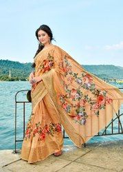 Present New Heavy Dijital Print Soft Cotton Saree With New Flower Design