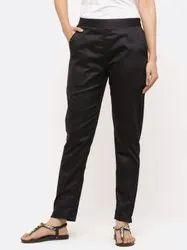 Jaipur Kurti Women Black Solid Cotton Lycra Pants