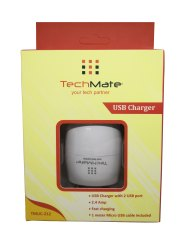 1 Meter Electric Techmate Dual Port White USB Charger