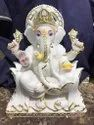 White And Golden Marble Ganesh Statue