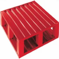 Red Steel Four Way Entry Double Deck Pallet, Capacity: 400 Kg