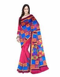 Geometric Printed Murshidabad Pure Silk Handmade Saree  With Blouse Pieces For Women Red (C70)