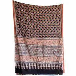 Designer Ajrak Hand Block Printed Silk Saree, 6.3 m (with blouse piece)