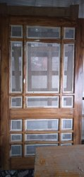 Designer Solid Wooden Double Jali Door, For Home