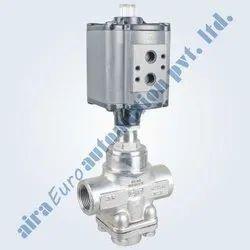 3/2 Way Aluminium Actuator Straight Type Mixing & Diverting High Pressure Control Valve