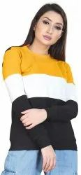 Full Sleeve Yellow Ladies Round Neck T Shirt