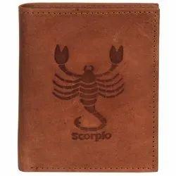 Hawai Scorpio Zodiac Sign Embossed Premium Light Weight Hunter Leather Wallet For Men