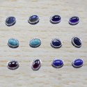 Garnet Gemstone 925 Sterling Silver Small Stud Earrings