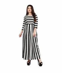 Black And White Stripped Ladies Striped Dress, 140 Gsm