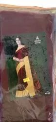 Party Wear Printed Plain Cotton Silk Saree, Without Blouse, 6.3 m (with blouse piece)