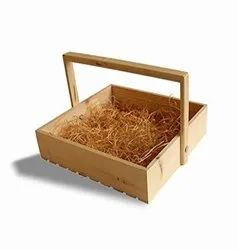 Pine Wood Decorative Gifting Basket with Wooden Handle, Size: 10 In X 10 In X 2.5 In