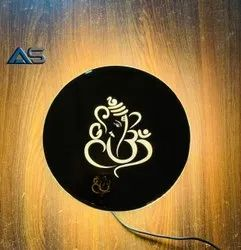 Warm Led Side Glow Wall Piece Ganesh Ji 9 x 9 Inches Round Shape