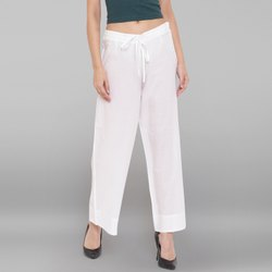 Janasya Women''s White Pure Cotton Palazzo Pant(BTM039)