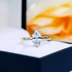 2.50 Ct Colorless Marquise Cut Moissanite Solitaire Ring, Six Prong Set Ring, 10KT White Gold