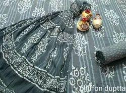 Marwal Chiffon Traditional Hand Printed Suit, Handwash