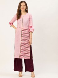 Jaipur Kurti Pink Embroidered Cotton Slub Printed Straight Kurta With Solid Rayon Burgundy Palazzo