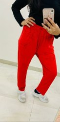 Housry Red Plain Straight Fit Leggings, Size: Free Size