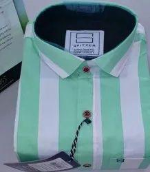 Spitzer Collar Neck Men's Casual Wear Cotton Lining Shirt, Machine wash