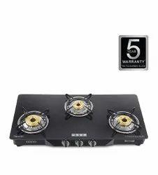 3 Burner Black usha gas stove Ebony GS3001, For Kitchen, Size: 42x77x14 Cm