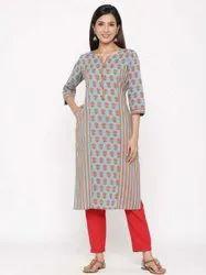 Jaipur Kurti Women Blue Printed Straight Cotton Kurta