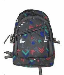 Polyster Black Printed School Backpack Bag