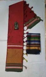 Casual Wear Plain Khun Saree, 6 m (with blouse piece)