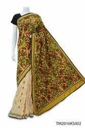 Yellow Kantha Stitch Saree, 0.8 Mtr., 6.3 m with blouse piece