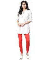 Jaipur Kurti Women Red Solid Cotton Lycra Leggings