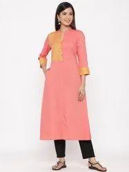 Jaipur Kurti Women Peach Geometric A-Line Blended Kurta