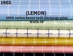 Lemon 100% Cotton Heavy Twill Discharge Print Shirting Fabric