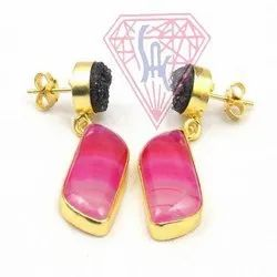 Pink Agate and Black Druzy  Gemstone Stud Earring with Gold Plated