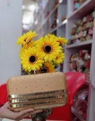 Embroidered Golden Indian Women Handbag Clutch Bridal Wedding Ethnic