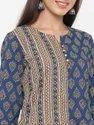Jaipur Kurti Women Indigo Blue Ethnic Motif Straight Cotton Kurta With Pant