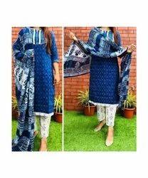 Biloniya Creation Rayon Ladies Trendy Blue Suit