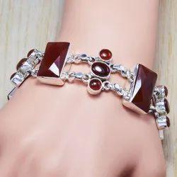 Garnet Gemstone 925 Sterling Silver Bracelet SJWBR-89