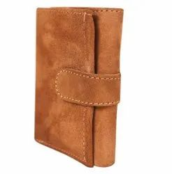 Brown Button Leather Wallet For Man, Card Slots: 5