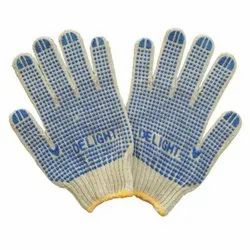 Full Fingered Cotton Dotted Hand Gloves, Size: 10 Inch