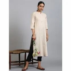 Janasya Women's Beige Cotton Flex Kurta With Side Pocket (JNE3606)