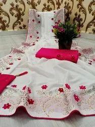 Griva designer Multicolor Work Saree, 6.3 m (with blouse piece)