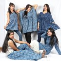 Hand Block Printed Cotton indigo Dress